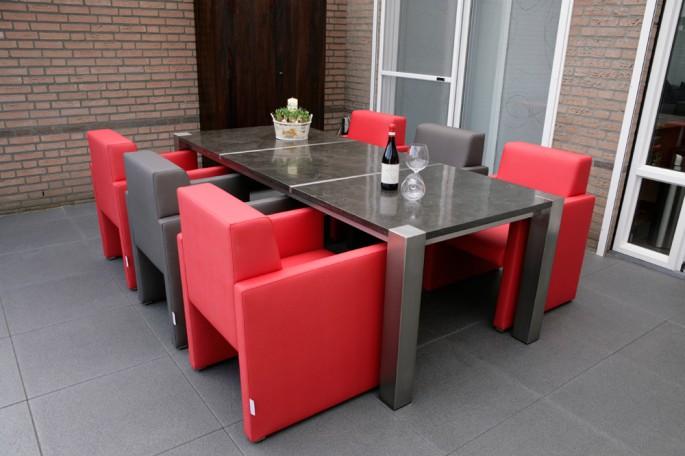 Rvs eettafel met blauwstenen bladen dutch rivi ra - Luxe eetkamer ...